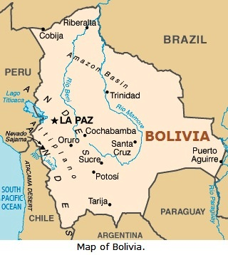 Map of Bolivia.