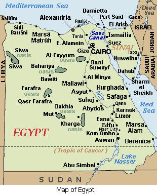 Map of Egypt.