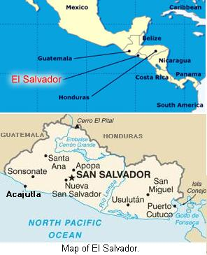 Map of El Salvador.