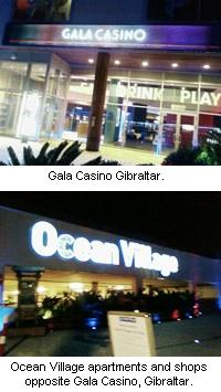 Gala Casino Gibraltar and Ocean Village apartments and shops.