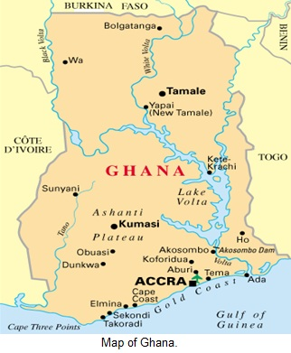Map of Ghana.