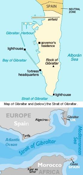 Map of Gibraltar and the Straight of Gibraltar.