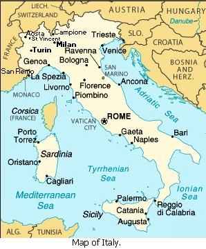 Map of Italy.