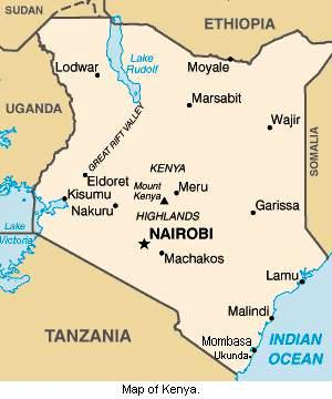 Map of Kenya.