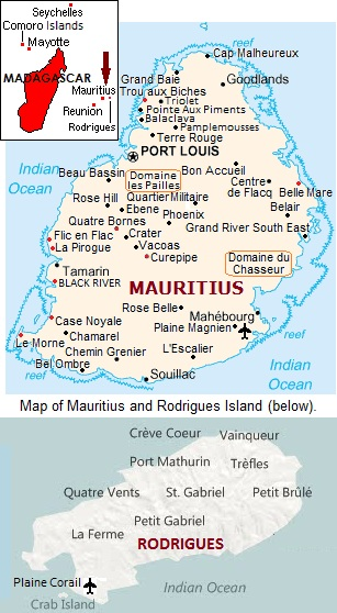 Map of Mauritius.