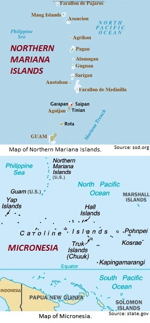 Map of Northern Mariana Islands and Micronesia.