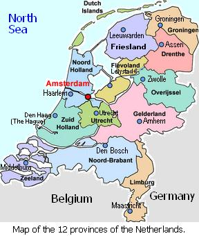 Map of the Netherlands showing the 12 provinces and their respective capital cities.