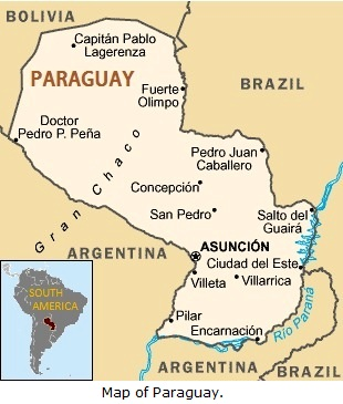 Map of Paraguay.