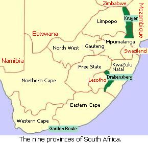Map showing the nine provinces of South Africa.