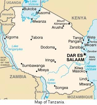Map of Tanzania.