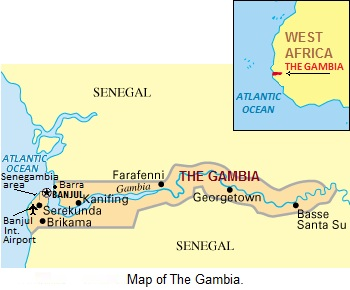 Map of The Gambia, West Africa.
