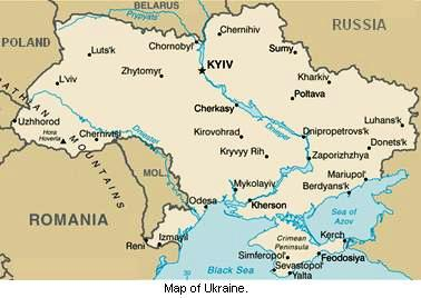 Map of Ukraine.